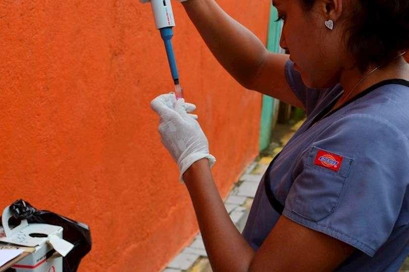 Una de las investigadoras procesa las muestras recogidas de los participantes en el Estudio de Cohorte del Dengue Pediátrico en Managua. Foto: EFE