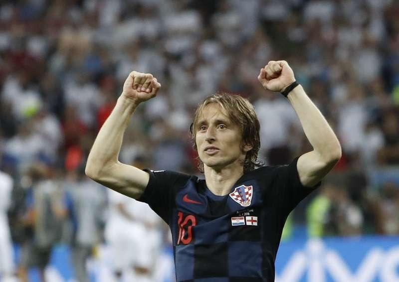 El croata Luka Modric celebra el pase de su selección a la final del Mundial de Rusia 2018, luego de vencer 2-1 a Inglaterra. Foto EFE