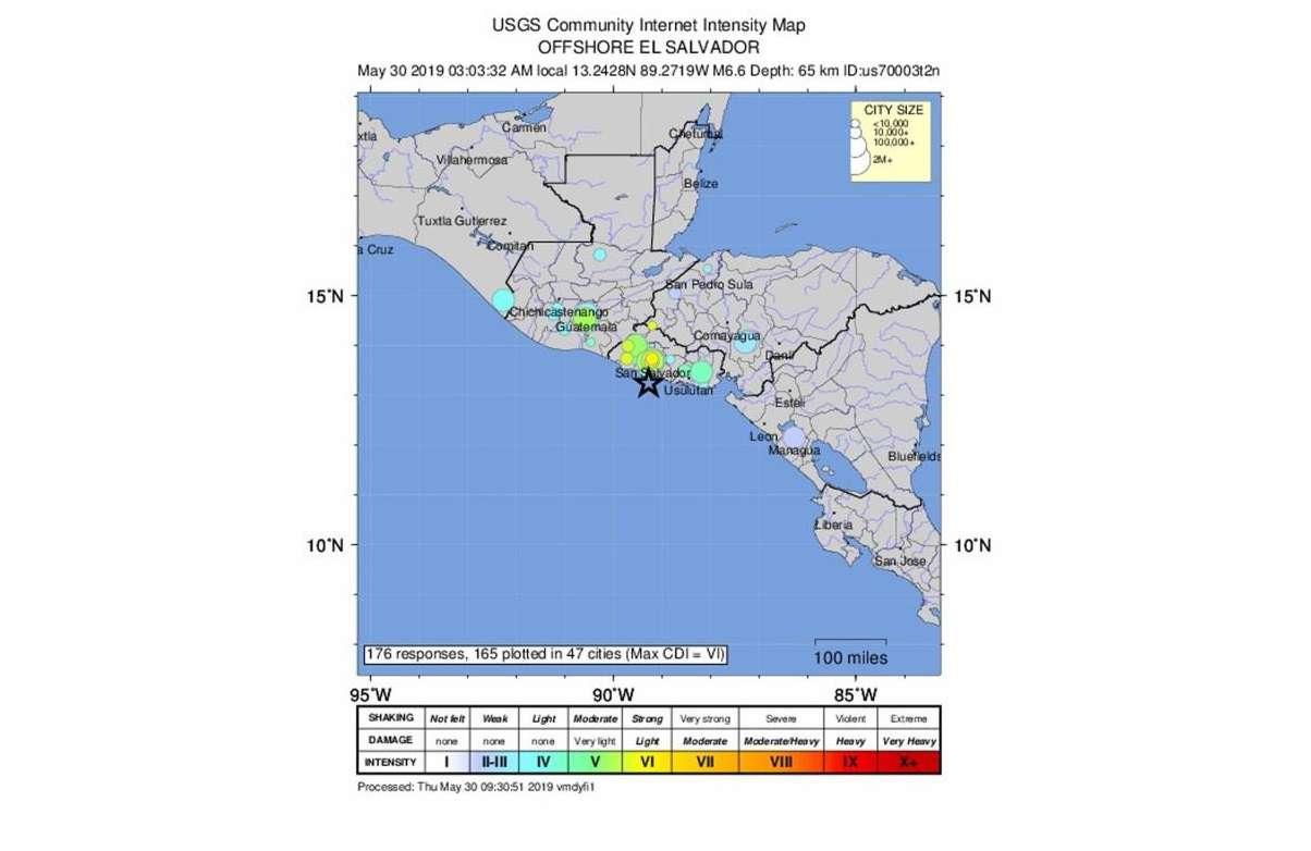 Mapa geológico de la localización del terremoto de magnitud 6,8 en la escala abierta de Richter que sacudió de madrugada este jueves El Salvador. EFE/Servicio Geológico de Estados Unidos (USGS). EFE