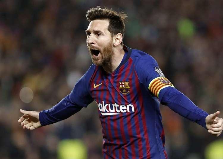 - El delantero argentino del Barcelona Leo Messi celebra el primer gol ante el Manchester United, durante el partido de vuelta de cuartos de final de la Liga de Campeones. Foto: AP