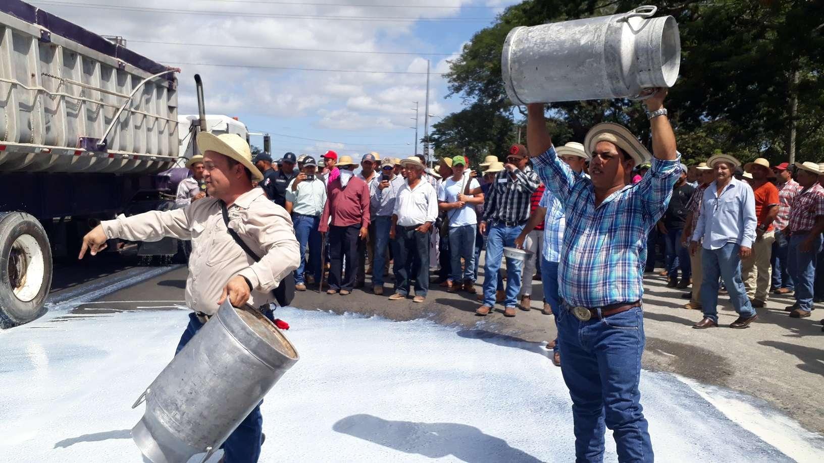 vaciaron garrafones de leche en la carretera como medida de protesta, ya que aseguran este producto es uno de los más afectados por la crisis del agro. Foto: Thays Domínguez