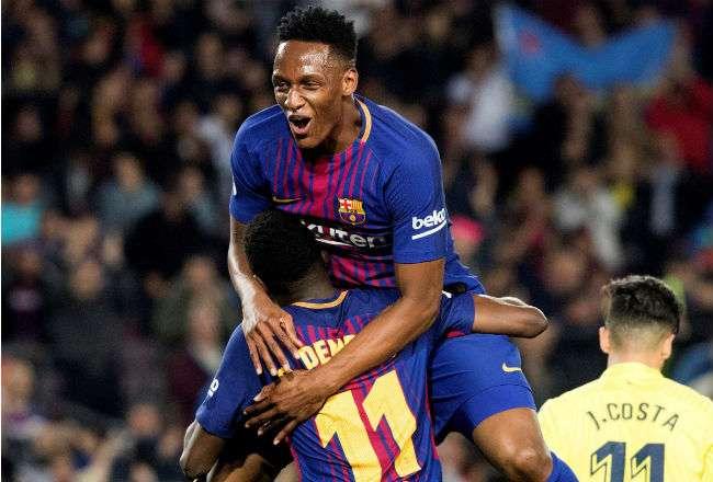 Yerri Mina está en su primera temporada con el Barcelona.